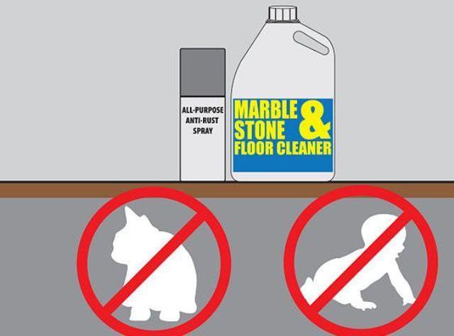 Giữ hóa chất tẩy sàn đá marble xa tầm tay trẻ em, vật nuôi
